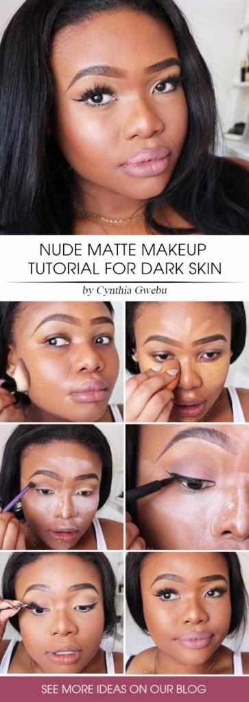 Nude Matte Makeup Tutorial For Dark Skin Tone #mattemakeup #darkskintone