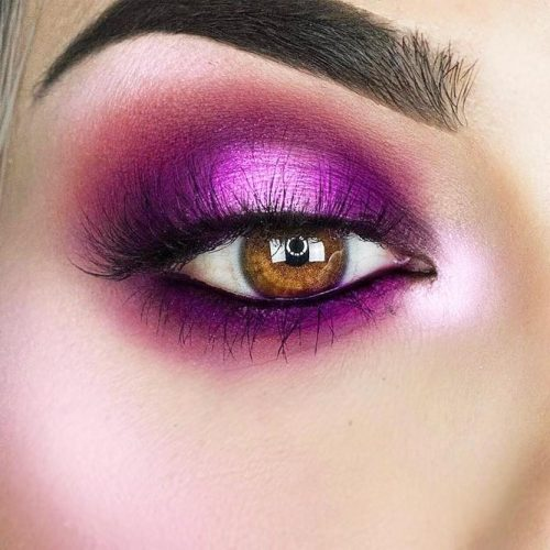 Purple Shadow For Amber Eyes #purplesmokey #ambereyes