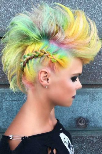 Faux Hawk Hairstyle For A Thin Hair Type #rainbowhair #mohawkhairstyle