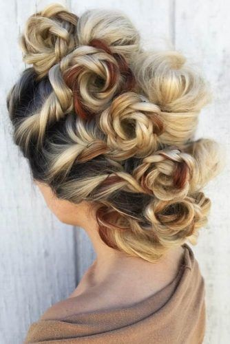 Faux Hawk With Braided Flowers #fauxhawk #braids #updo