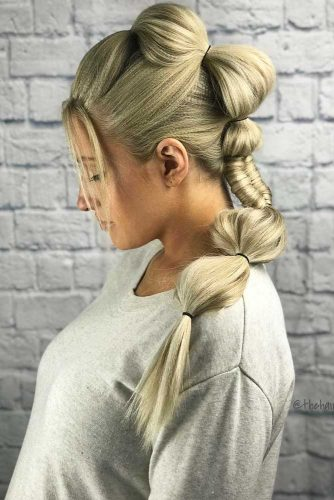 Fohawk Hair With A Bubble Ponytail #ponytail #bubblehairstyle