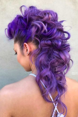 Fohawk Hairstyle For Long Hair #purplehair #curlyhair