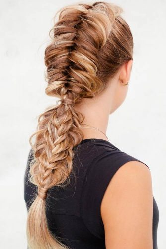 Braided Faux Hawk With A Braided Ponytail #fishtail #braid #fishtailbraid