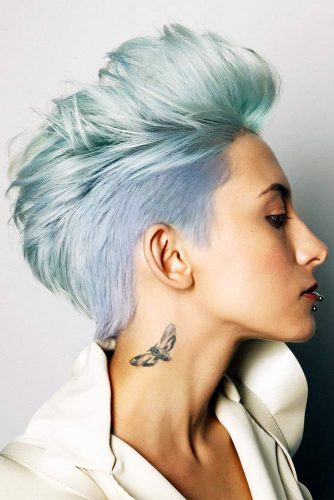 Faux Hawk Hairstyle For Straight Hair #pixie #bluehair #pixiecut