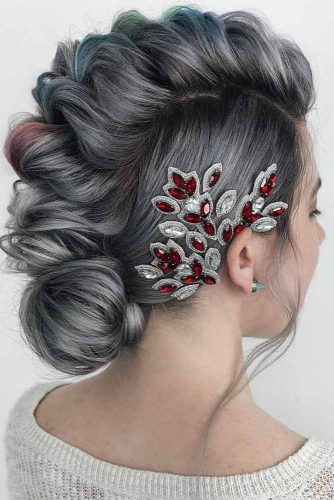 Straight Silver Hair With A Faux Hawk Updo #silverhair #hairaccessory #updohair