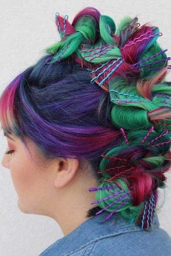 Colorful Updo Faux Hawk With A Braid #rainbowhair #purplehair #braidedhairstyle