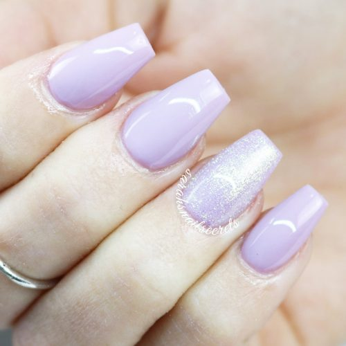 Easy Nails Design In Lavender Color #coffinnails