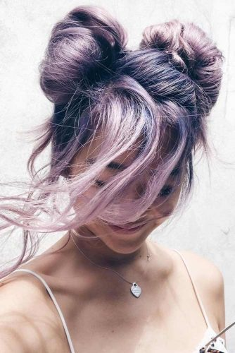 Buns Hairstyle To Show All Lavender Shades #buns #haircolor