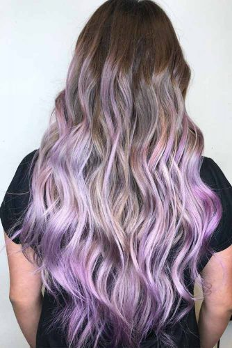 Brown And Lavender Ombre Hair Color #ombre #hairstyle