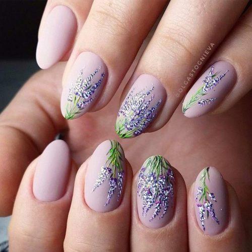 Matte Nails Art With Lavender Pattern #mattenails