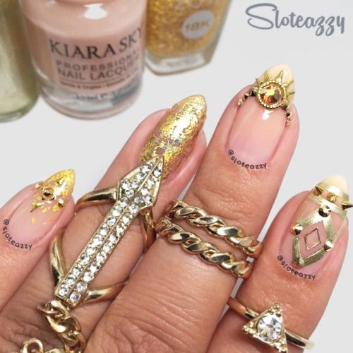 Fantastic Manicure In Rich Gold Shades #goldnails #studsnails #almondnails