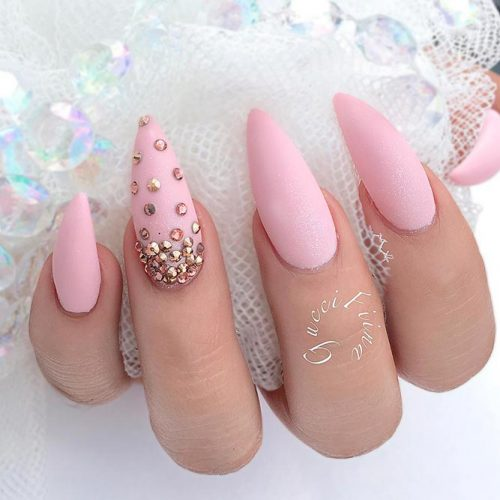Scattering Of Rhinestones On Accented Finger #mattenails #pinknails #rhinestonesnails