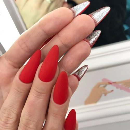 Matte Red vs Silver Shine Simple Yet Elegant Idea #glitternails #rednails #mattenails #louboutinnails
