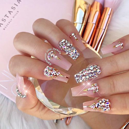Innocent Nude Nails With Luxurious Rhinestones #nudenails #longnails #rhinestonesnails