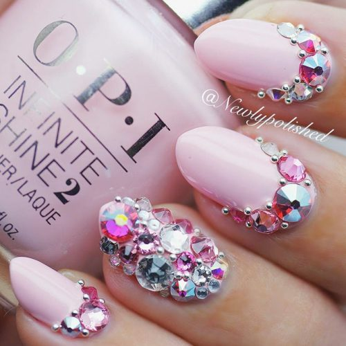 Beautiful Nails With Royal Rhinestones #pinknails #rhinestonesnails