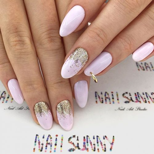 Delicate Piercing Accent For Unusual Mani #pinknails #ombrenails #glitterombre #piercingnails #nailpiercing