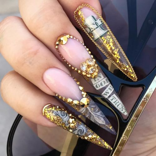 Money Nails Crazy Idea For Really Daring Ladies #longnails #stilettonails #moneynails #glitternails #rhinestonesnails