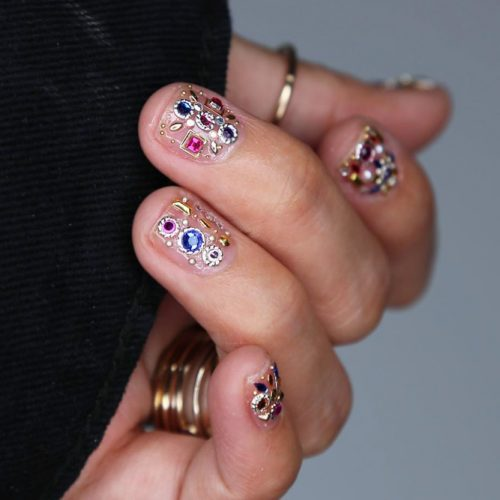 Luxury Nails With Dazzling Crystals And Studs #studsnails #rhinestonesnails #shortnails