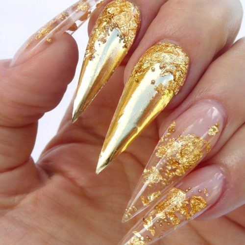 Gorgeous Gold For Rich Nails #foilnails #goldnails #longnails #stilettonails
