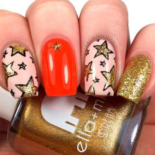 Gold Glitter Stars #glitternails #squarenails