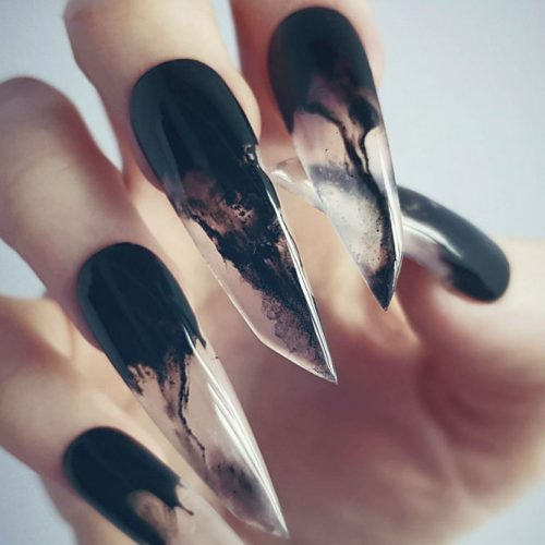 Unusual Lipstick Nail Shape #lipsticknails #longnails #fakenails #blacknails #smokenails