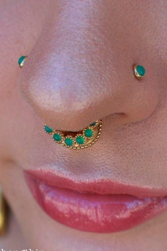 Double And Multiples Nose Piercing #multiplespiercing