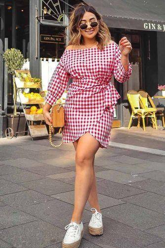 Plaid Off The Shoulder Short Dress #printdress