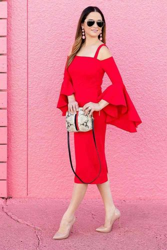 Sexy Red Off The Shoulder Dress With Sleeves #reddress
