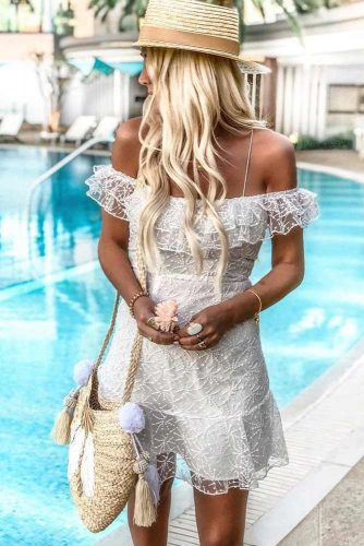 Sassy White Mini Dress #lacedress