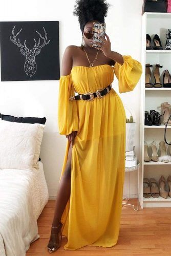 Maxi Yellow Off The Shoulder Dress #maxidress