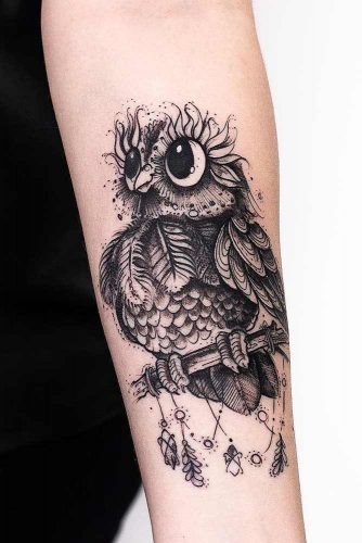 Black And White Owl Tattoo Design #blackandwhitetattoo