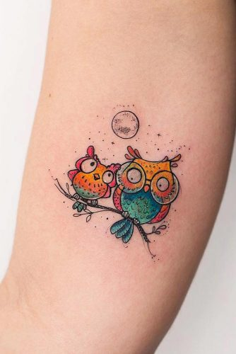 Cute Cartoon Owls Design #cartoontattoo #cutetattoo
