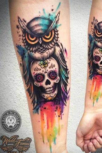 Colorful New School Owl Tattoo #newschooltattoo