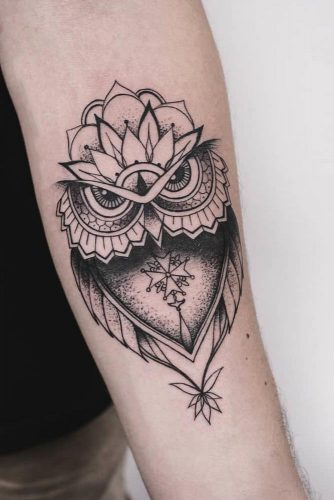 Black And White Owl Tattoo In Ornamental Style #blackandwhitetattoo