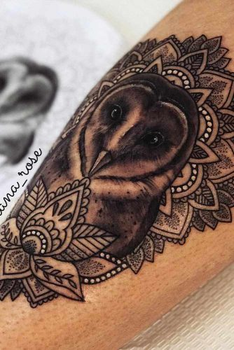 Owl Tattoo With Lotus Flower Design #mandalatattoo #lotusflowertattoo