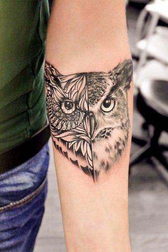 Half Realism Half Mandala Owl Tattoo #mandalatattoo #realismtattoo