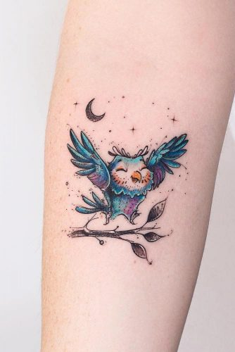 Small Cartoon Owl Tattoo Idea #cutetattoo