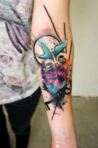 New School Owl Tattoo Style #newschooltattoo #armtattoo