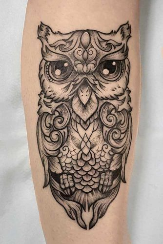 Black And White New School Owl Art #ornamentaltattoo #blackandwhitetattoo
