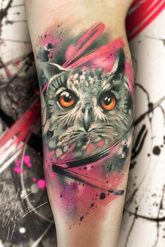Realistic Owl Tattoo Design #armtattoo
