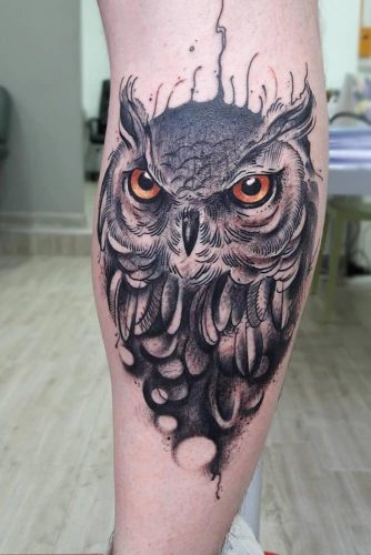Mysterious Owl Tattoo Art In Realistic Style