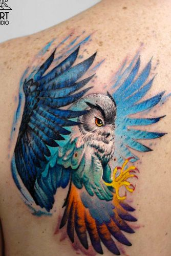 Bright Colorful Owl Tatto Design For Back #backtattoo