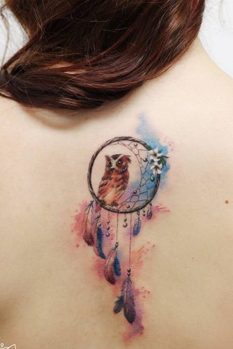 Cute Watercolor Owl Tattoo Design With Dream Catcher #dreamcatcher #backtattoo