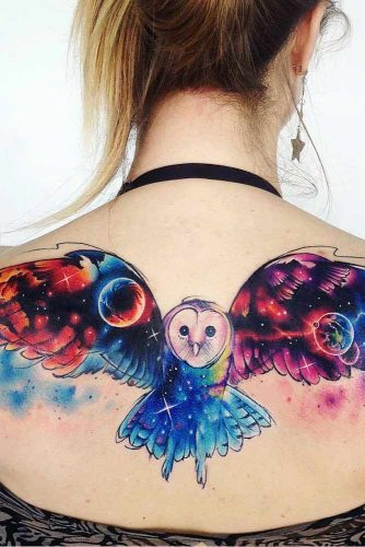 Galaxy Owl Tattoo For Back #galaxytattoo #tattooforback