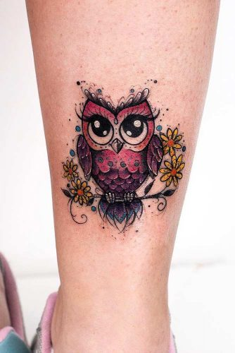 Cute Owl Design For Leg #cutetattoo #femininetattoo