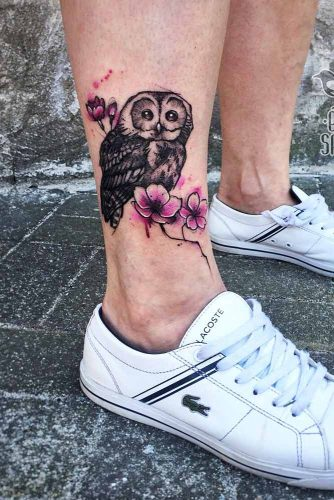 Owl Tattoo With Cherry Blossom Flowers #cherryblossomflowers #tattooforleg