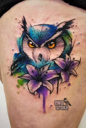Colorful Owl Tattoo For Leg #legtattoo
