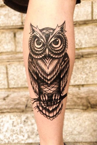 Black And White Owl Tattoo Idea #legtattoo
