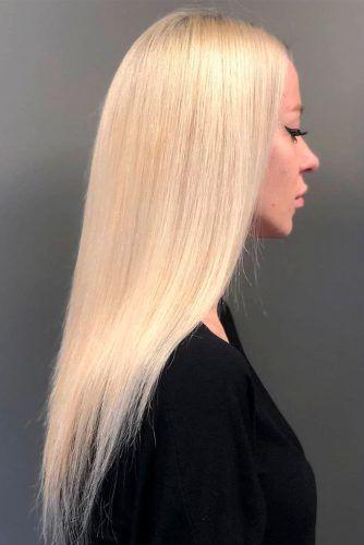 Blonde Straight Hair Style #blondehair #sleekhairstyles