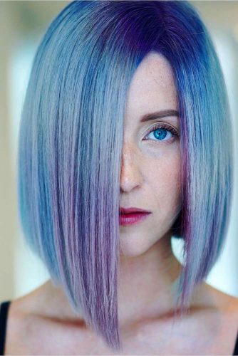 Blue Straight Hair Bob Cut #bluebob #bobhaircuts